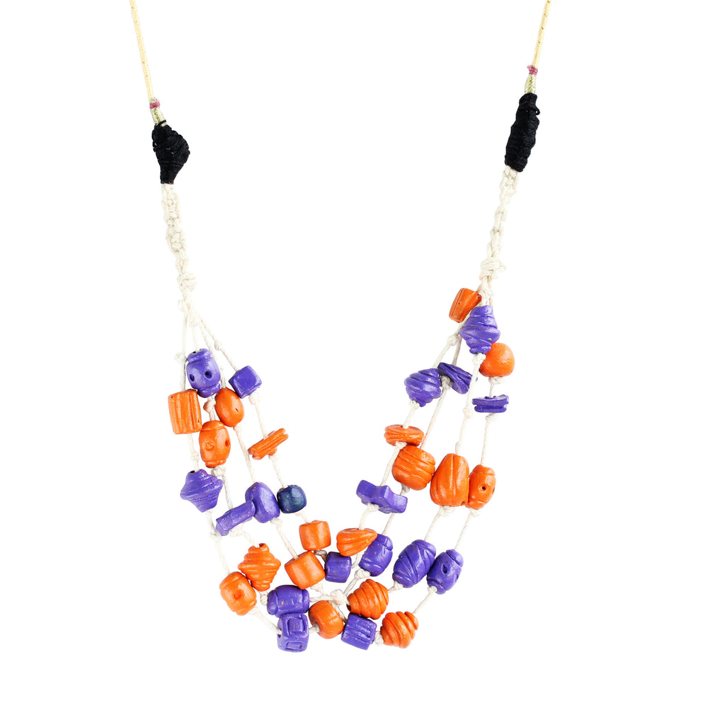 Touchstone Terracotta with multi color designed Necklace- KRNS-A60-01----