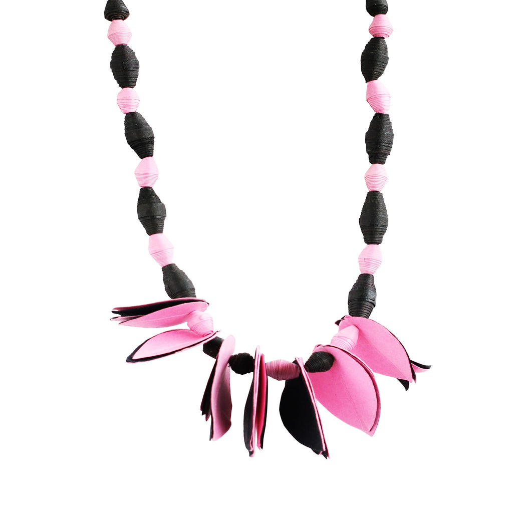 Touchstone aper Jewellery with baby pink and black color combined Necklace with petal style- KRNS-A61-01----