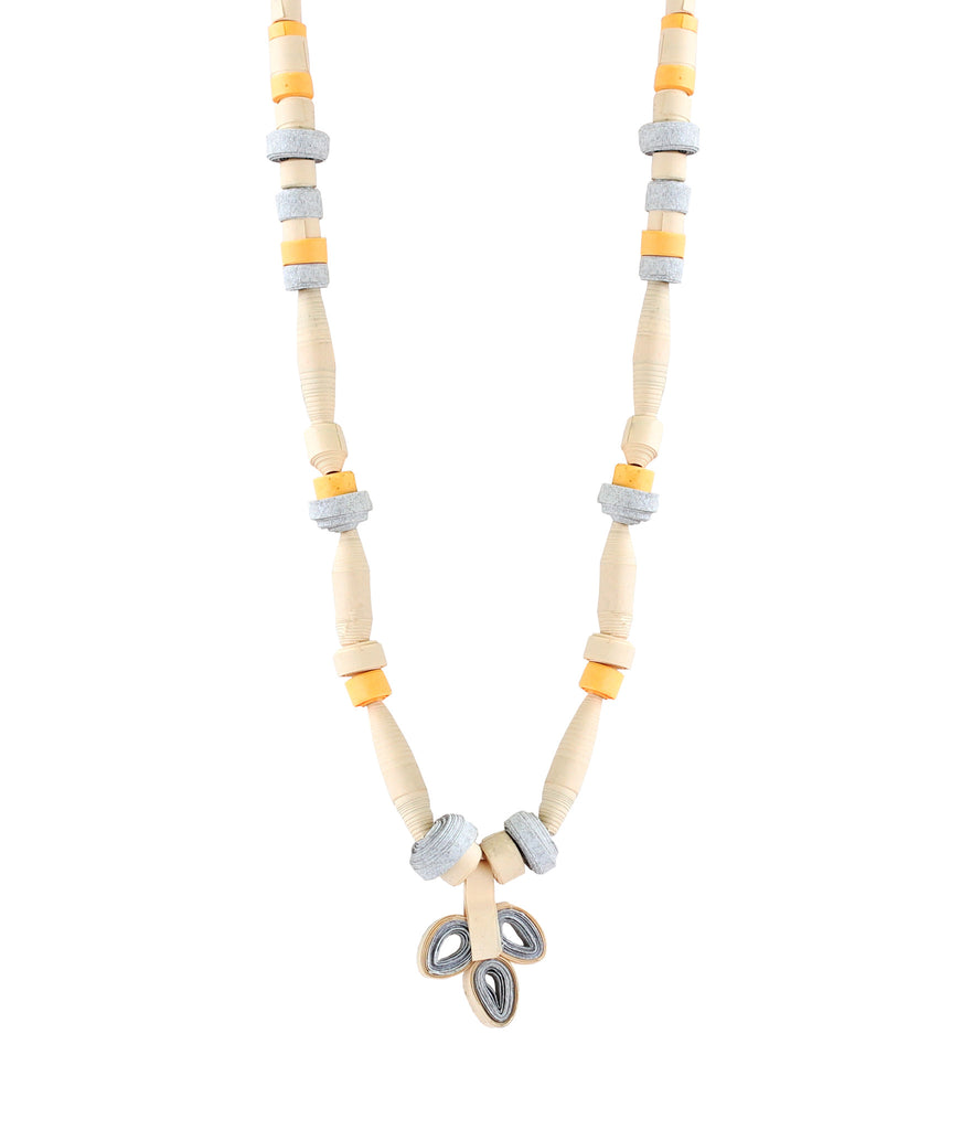 Touchstone Paper Jewellery with grey and yellow color combined Necklace- KRNS-A62-01----