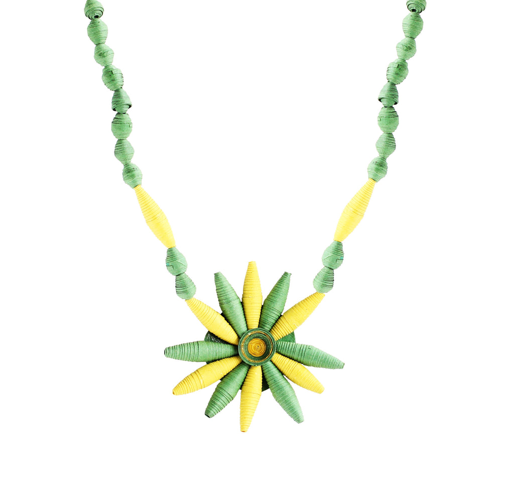 Touchstone Paper Jewellery with light green and yellow color combined Necklace- KRNS-A63-01----