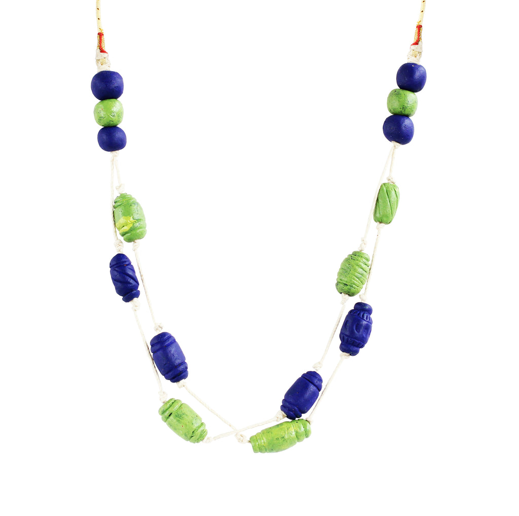 Touchstone Terracotta with peacock blue and light green combined Necklace- KRNS-A64-01----