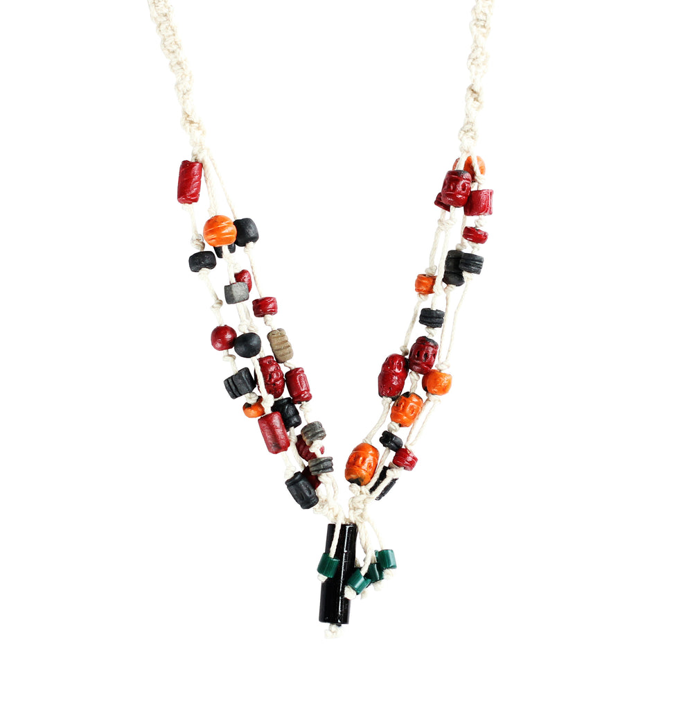 Touchstone Terracotta with multi- color combined Necklace- KRNS-A66-01----