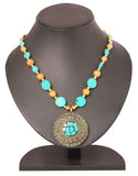 Touchstone Antique and western style turquoise touch Necklace- KRPS-111-01---Z