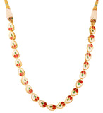 Alloy metal golden plated Indian bollywood pear shape single line Kundan look jewelry necklace for women KSNSG152-01K--Y