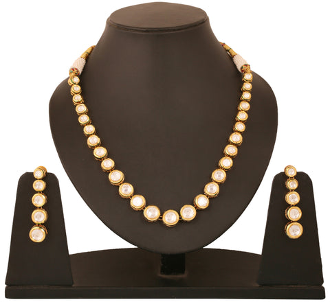 Alloy metal golden plated Indian bollywood pear shape Kundan look single line necklace set for women KSNSG155-01K--Y