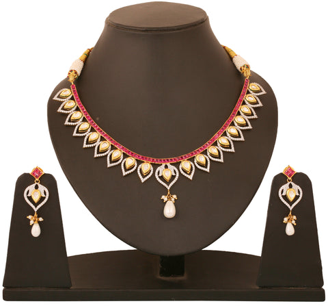 Alloy metal, golden plated Indian bollywood faux rubies Kundan look jewelry  necklace set for women KSNSG156-01AR-Y