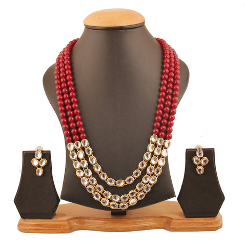 "Touchstone ""Contemporary Kundan Collection"" Indian Bollywood Majestic Mughal Craftsmanship Kundan Look Identical Red Onyx Triple Line Strings Long Wedding Designer Jewelry Necklace Set In Antique Gold Tone For Women"