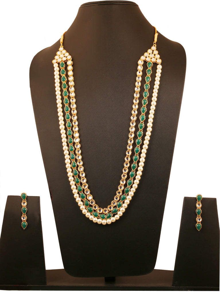53555d3df Kundan Contemporary. Touchstone Indian bollywood Mughal era Kundan and jadu  inspired faux emerald pearls designer jewelry long necklace set ...