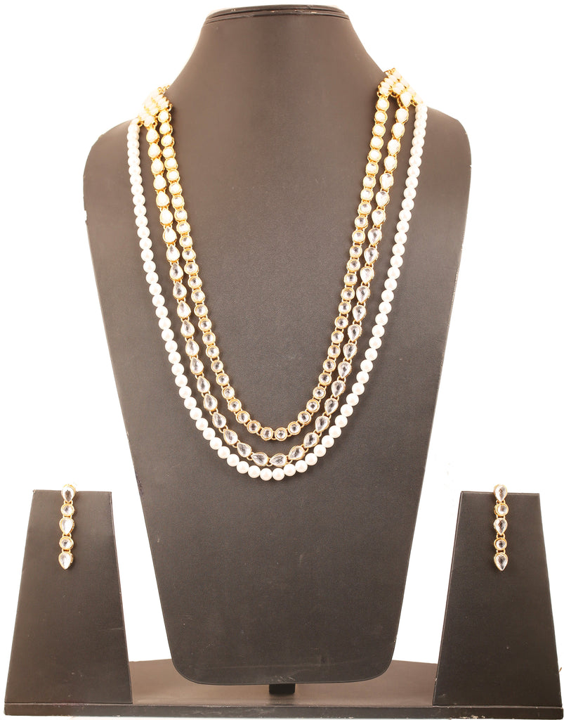 Exclusive Indian Kundan Look Faux Pearls Long Necklace Set In Gold Tone-KSNSL085-02K--Y