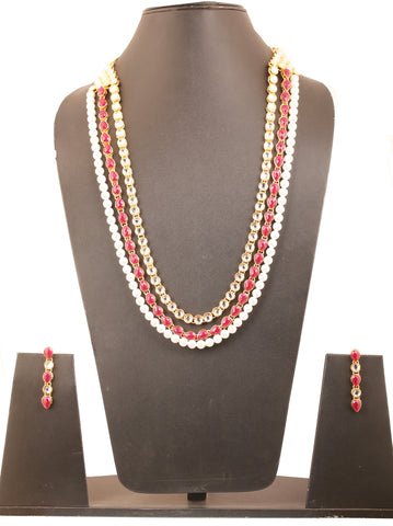 Exclusive Indian Kundan Look Faux Pearls Ruby Necklace In Gold Tone-KSNSL085-03KR-Y