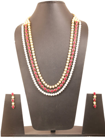 Exclusive Indian Kundan Look Faux Pearls Ruby Necklace In Gold Tone-KSNSL085-04PR-Y
