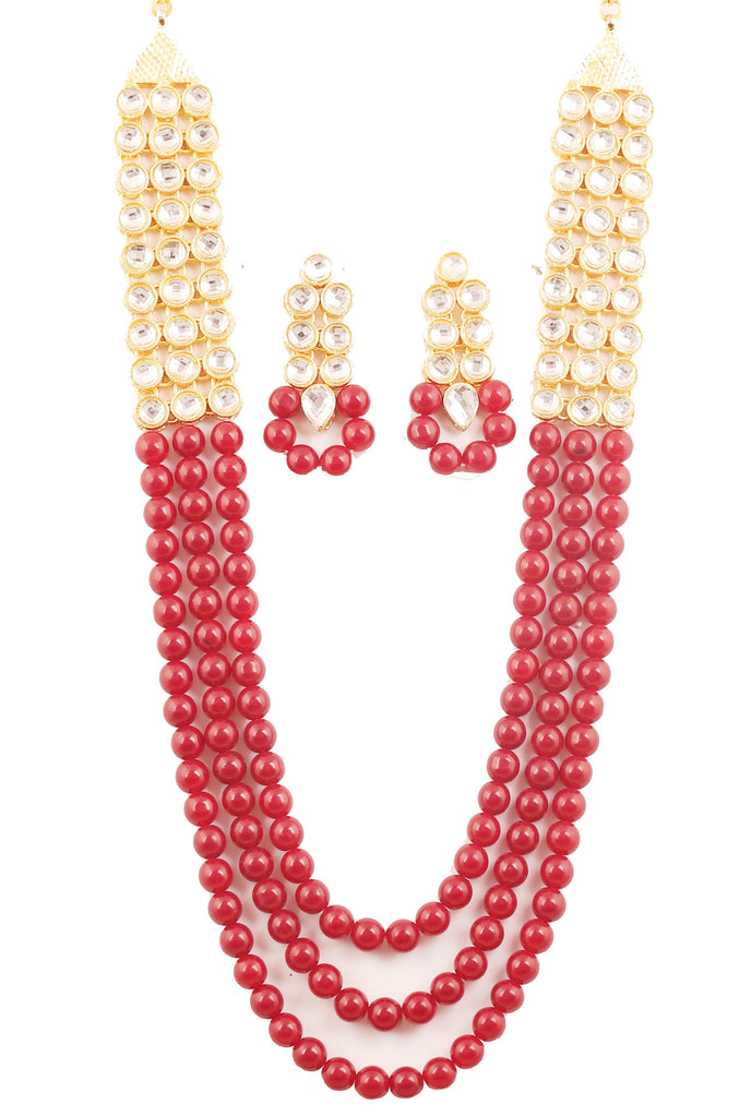 "Touchstone ""Contemporary Kundan Collection"" Indian Bollywood Fine Mughal Craftsmanship Kundan Look Identical Red Onyx Triple Line Strings Long Wedding Designer Jewelry Necklace Set In Antique Gold Tone For Women."