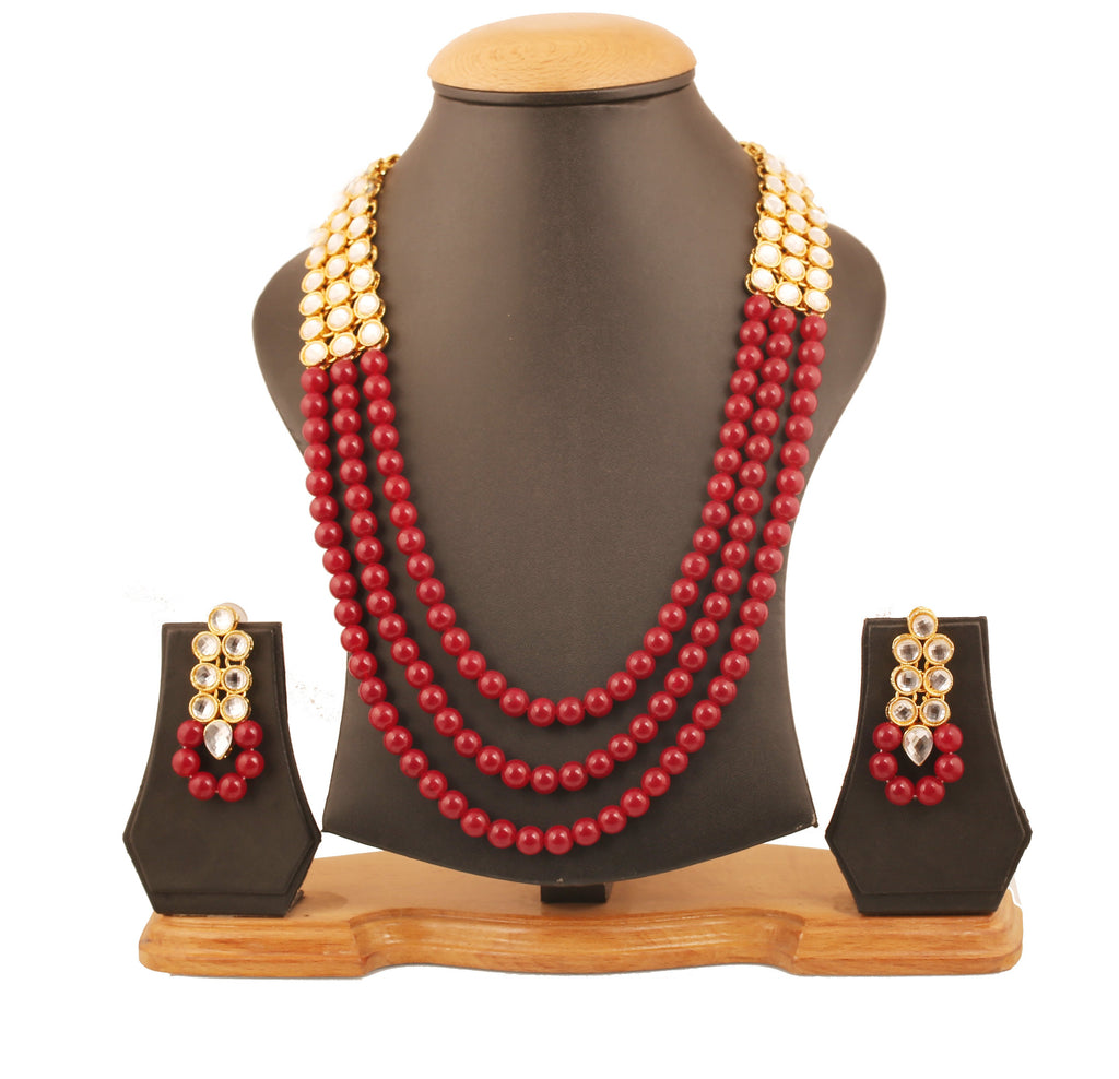 Contemporary Kundan Look Red Onyx Triple Line Necklace Set In Antique Gold Tone-KSNSL086-02K--Y