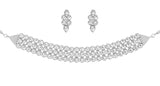 Indian Contemporary White Kundan Look Choker Necklace Set In Silver Tone-KSNSL095-02K--W