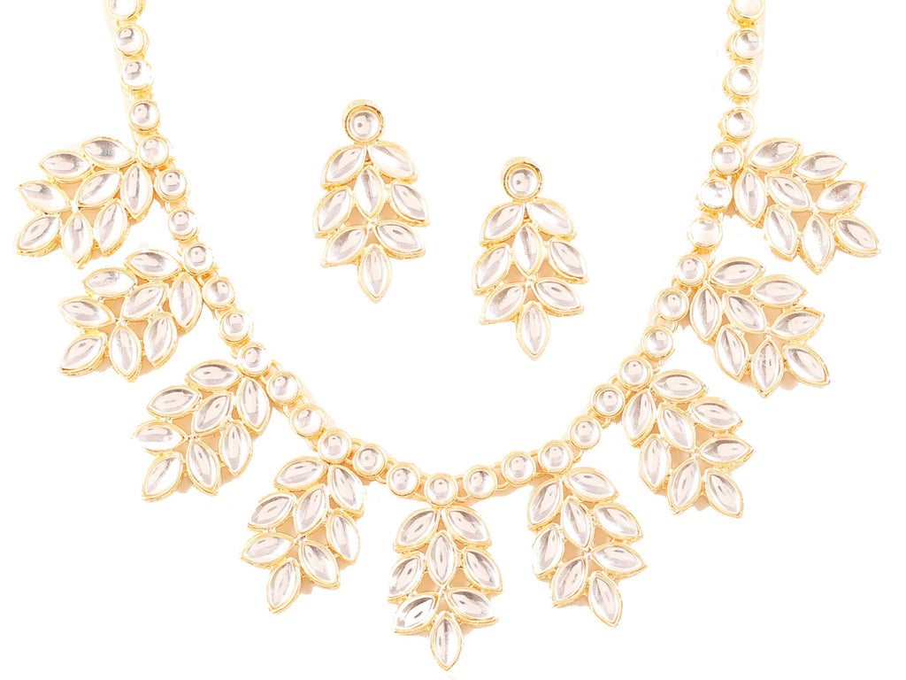 Contemporary Indian Classical Kundan Look Choice Necklace In Gold Tone-KSNSL111-01K--Y