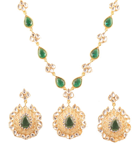 Contemporary Kundan Look Green Faux Emerald Necklace Set In Gold Tone-KSNSL113-01KE-Y