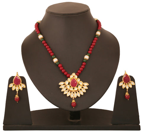 Alloy metal golden plated Indian bollywood faux rubies Kundan look jewelry pendant set for women KSPSP070-01KR-Y