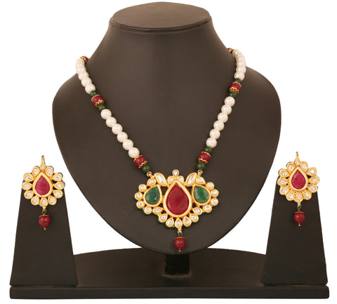 Alloy metal golden plated Indian bollywood faux rubies Kundan look jewelry pendant set for women KSPSP071-01KREY