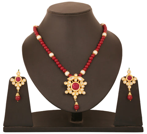 Alloy metal golde plated Indian boolywood Kundan  look jewelry with faux rubies pendant set for women KSPSP072-02KR-Y