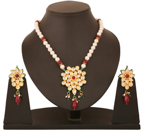 Alloy metal golde plated Indian boolywood Kundan  look jewelry with faux rubies pendant set for women KSPSP073-01KR-Y