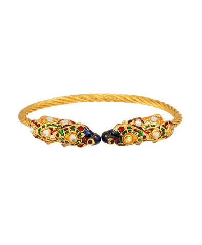 Touchstone Brass base, peacock look bracelet with multi enamel work- MEBRE016-01K--Y