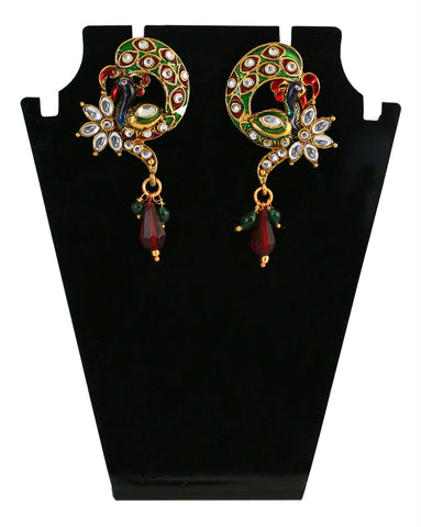 Touchstone Green & Golden Drop Earrings- MEETE059-01A--G