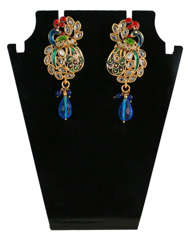Touchstone Golden & Blue Drop Earrings- MEETE062-09A--G