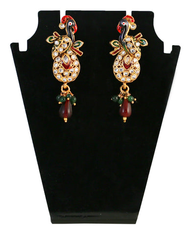 Touchstone Golden & Maroon Drop Earrings- MEETE067-02A--G