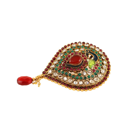 Touchstone Beautiful and attractive alloy metal and ethnic kundan look brooch - MEHAE025-01KREG