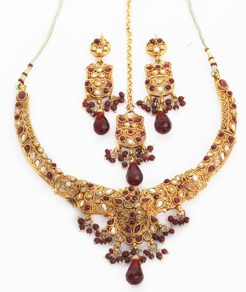 Exotic and classic, ethnic Indian bridal necklace set by Touchstone- MENS-965-01KRPY