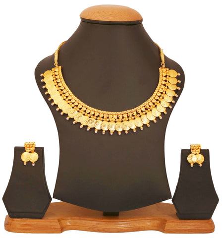 Gold Plated Faux Pearl Temple Necklace Set by Touchstone- MENSC001-01P--Y