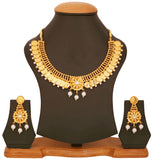 Gold Plated Faux Pearl Temple Necklace Set by Touchstone- MENSC002-01P--Y