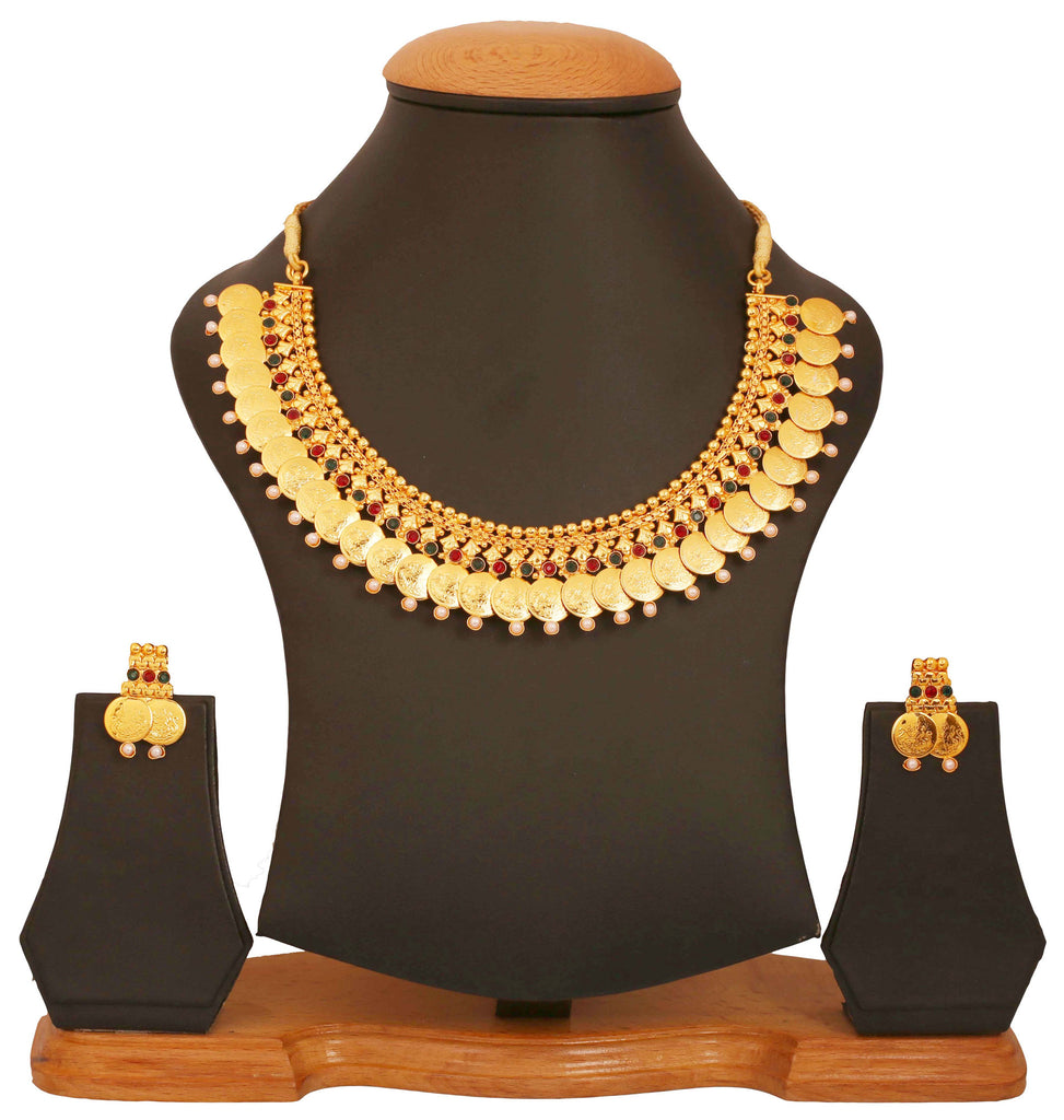 Gold Plated Multicolor Temple Necklace Set by Touchstone- MENSC003-01PREY