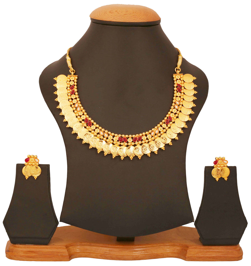 Gold Plated Temple Necklace Set by Touchstone- MENSC006-01PR-Y