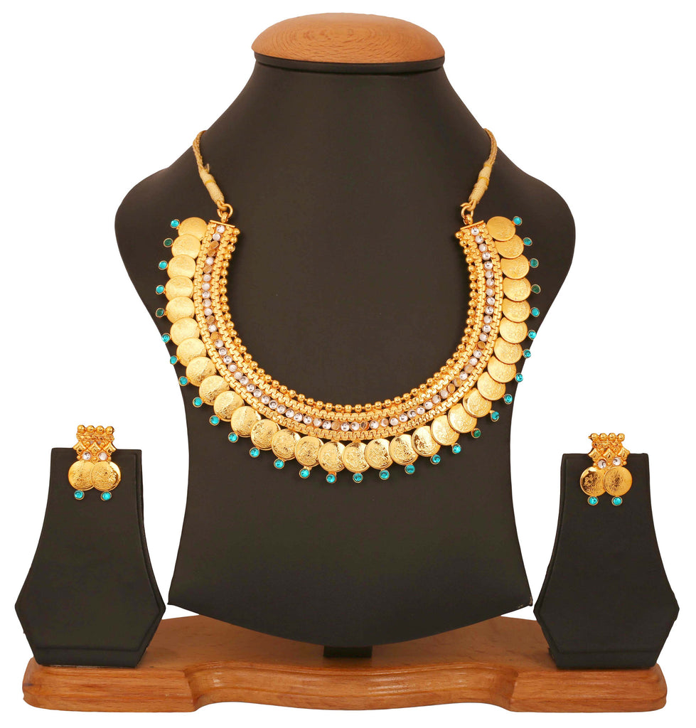 Gold Plated Kundan Look Temple Necklace Set by Touchstone- MENSC007-01AW-Y