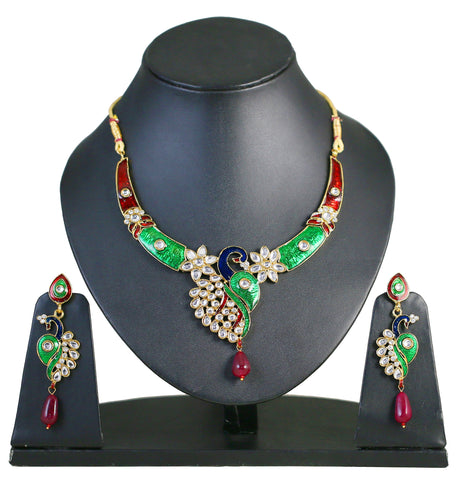 Touchstone Peacock  Kundan Necklace Set- MENSEA13-01K--Y