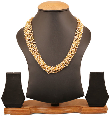 Touchstone Indian Bollywood special aesthetic,  beautifully twisted wire faux pearls strings traditional necklace for women in gold tone