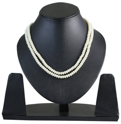 Touchstone White Pearl Necklace- PLSTG040-01---Y