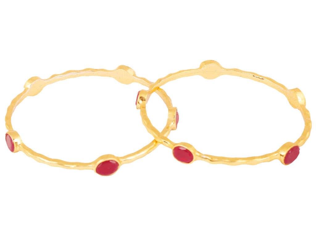 Touchstone Indian Bollywood red faux ruby ethnic designer jewelry bangle for women in gold tone
