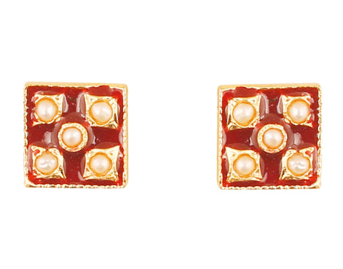 Touchstone Indian Bollywood charming Mughal Meenakari Enamel Faux Pearls Designer Jewelry Earrings For Women in Gold Tone.-PWETE002-01P--Y