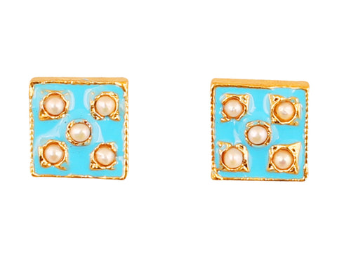 Touchstone Indian Bollywood charming Mughal Meenakari Enamel Faux Pearls Designer Jewelry Earrings For Women in Gold Tone.-PWETE002-02P--Y