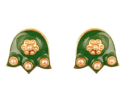 Touchstone Indian Bollywood charming Mughal Meenakari Enamel And Floral Theme Faux Pearls Designer Jewelry Earrings For Women in Gold Tone.-PWETE004-01P--Y