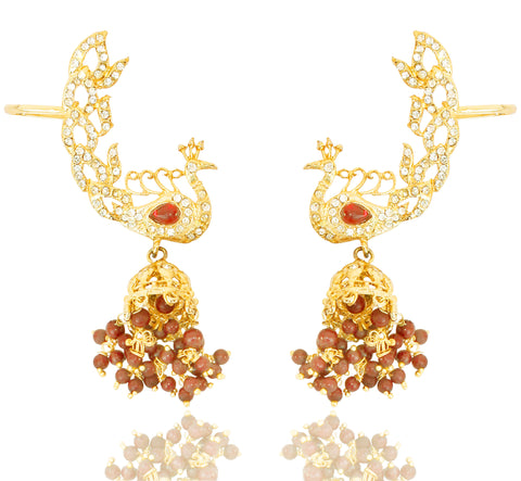 Touchstone Golden Ad Studded Mayur Earrings- PWETL007-01AG-Y