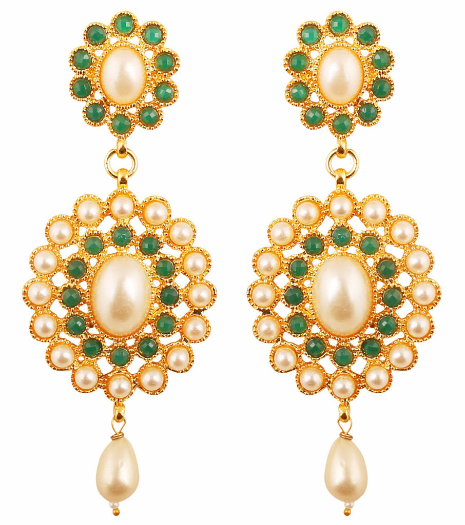 Green Faux Emerald  Pearls Exclusive Chandelier Earrings In Gold Tone-PWETL169-03PE-Y