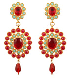 Candy Red Faux Ruby Turquoise Dazzling Chandelier Earrings In Gold Tone-PWETL169-04RT-Y