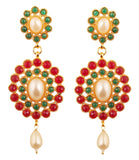 Red Faux Ruby Green Emerald Dazzling Chandelier Earrings In Gold Tone.-PWETL169-06PREY