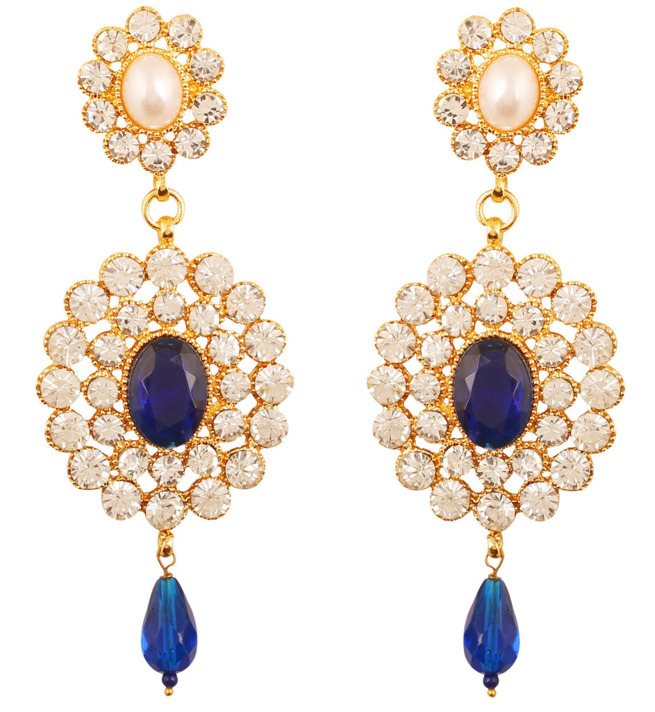 Faux Pearls Bright Blue Sapphire White Crystals Earrings In Gold Tone.-PWETL169-07APWY