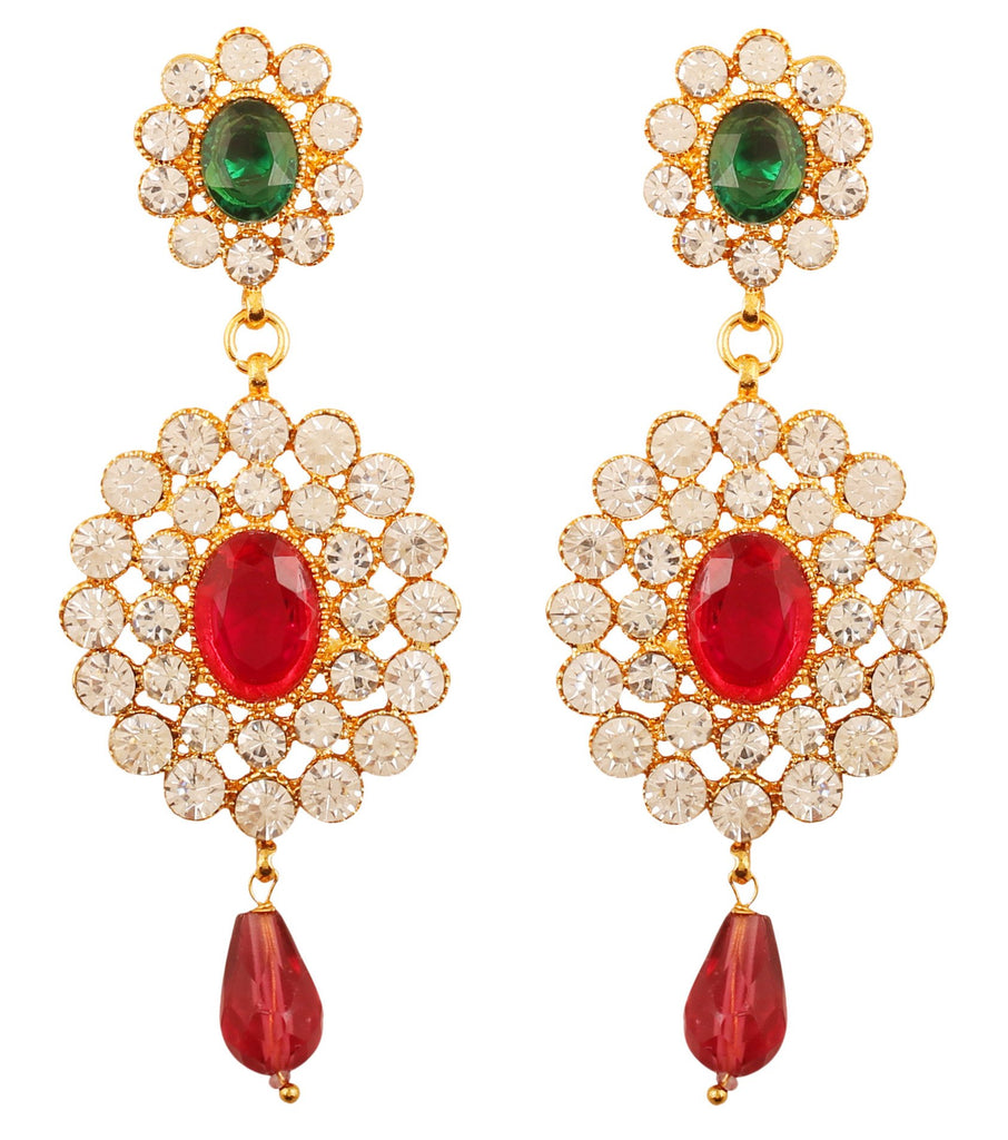 Charming Look Faux Ruby Emerald White Crystals Earrings In Gold Tone.-PWETL169-08AREY