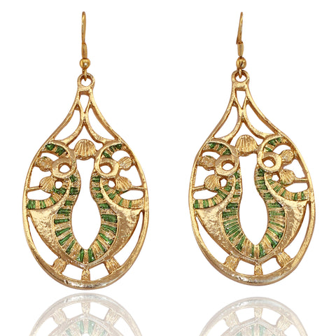 Touchstone Golden & Green Teardrop Earrings- PWETL171-01---Y