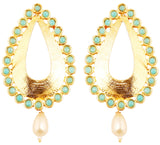Cutwork Metal Faux Pearl Teardrop Turquoise Blue Earrings In Gold Tone-PWETL180-02T--Y